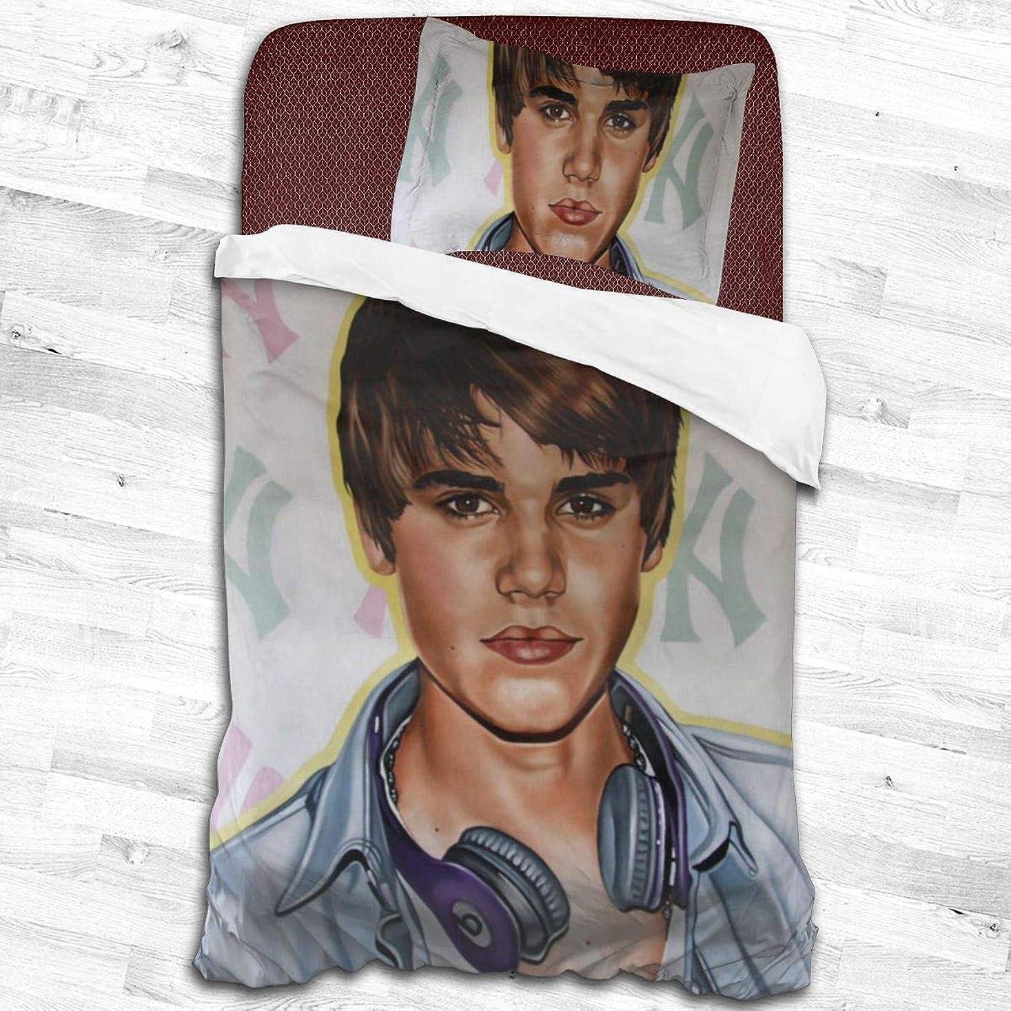 外側ちょっと待って大寝具カバーセット、掛け布団カバー 枕カバー アイドルミュージックJustin Bieberジャスティンビーバー 掛け布団カバー1つ+ 20