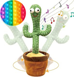 TIM Rechargeable 130 songs Dancing Cactus Repeat What You say and Sing Electronic Plush Toy Decoration for Kids Funny Earl...