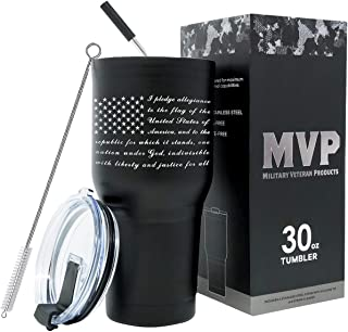 30oz Pledge of Allegiance Double Wall Vacuum Insulated Stainless Steel American Flag Tumbler Travel Mug