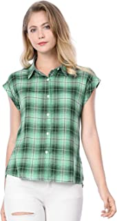 Allegra K Women's Rolled Cuffs Point Collar Button Down Plaids Shirt