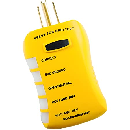 Sperry Instruments HGT6520, Stop Shock II-Single, DIY Testing-120V AC, 3 Color LED Indicator, Comfort Grip, Patented GFCI Outlet Tester, Yellow