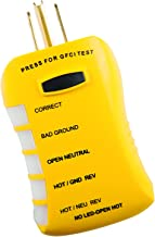 Sperry Instruments HGT6520, Stop Shock II-Single, GFCI, DIY Testing-120V AC, 3 Color LED Indicator, Comfort Grip, Patented Outlet Circuit Analyzer Tester, Yellow