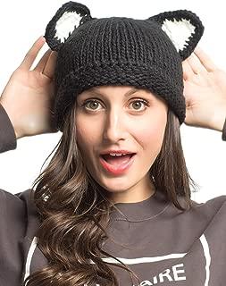 Women Brown Cute Bear Design Pom Pom Bobble Beanie Hat