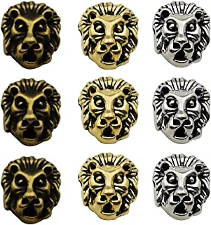 36pcs Antique Silver Bronze Gold Mixed Lion Head Loose Spacer Bead,Craft Supplies Charms Pendants for Jewelry Findings Making Accessory for DIY Bracelet Necklace M195