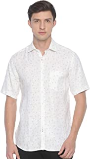 Linen Club White Printed Casual Regular Fit Linen Shirts for Men