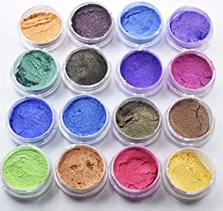 Mica Powder 16jars/Set 16colors Mica Powder Kit - Cosmic Shimmer Mica Powder Sparkly Decoration for Eye Shadow, Paper Crafts, Nail Art etc