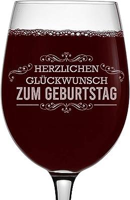 Happy Birthday (German) Etched 16oz Stemmed Wine Glass