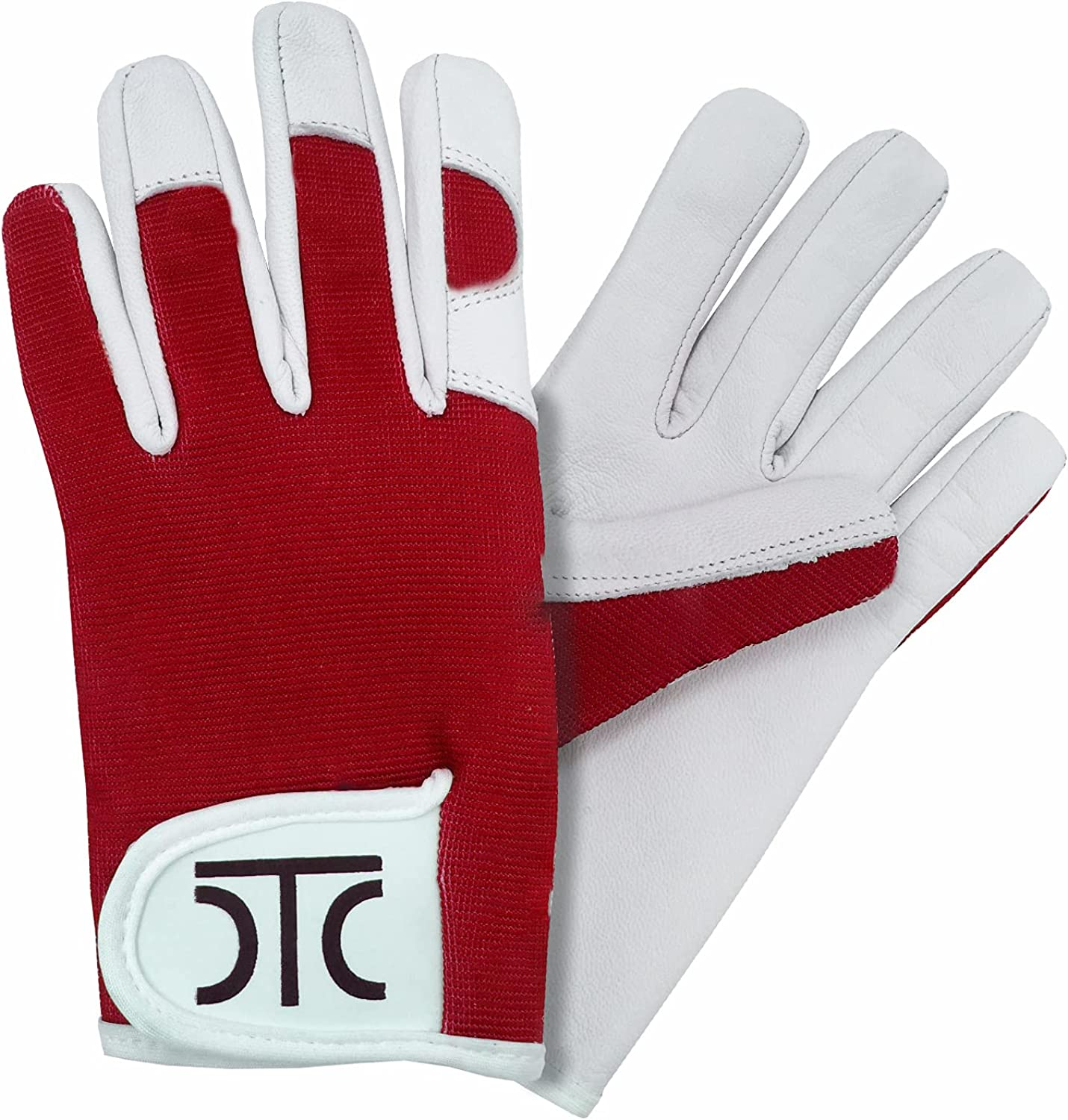 DTC Real Leather Gardening Gloves Thorn Proof with Goatskin Leather Palm for Men and Women (4-Colors, Regular Sizes).