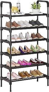 UDEAR Organiseur de chaussures à 6 niveaux, étagères en métal debout pour 18-21 paires de chaussures pour salle de séjour,...