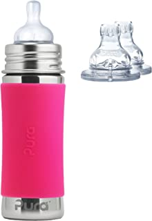 Pura Kiki Stainless Steel 11 Ounce Infant Bottle plus 2 XL Sipper Spouts, Pink