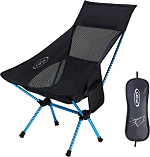G4Free Portable Camping Chairs Medium Size with Headrest, Lightweight Backpacking Chair with Carry Bag & Side Pouch for Outdoor Picnic Beach