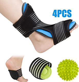 Plantar Fasciitis Night Splint Foot Orthotic Supports Kits - Adjustable Elastic Strap Plantar Fasciitis Braces + Spiky Massage Ball + Arch Supports (2 PCS) for Relieve Planter Fascitis Pain (Blue) …