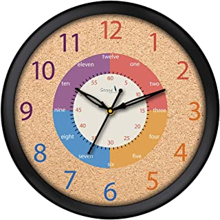 Story@Home 10-inchRound Shape Wall Clock with Glass for Home/Kitchen/Living Room/Bedroom/Office (Black & Brown)