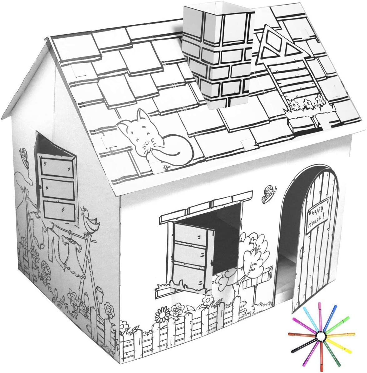 FUNTRESS Cardboard Playhouse Large House Paper 49