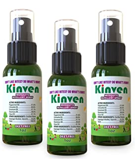 Kinven Anti Mosquito Repellent Bundle - Mosquito Repels Mosquito Spray 1oz (3 Bottles), Waterproof, with Natural Oils, DEET-Free, Indoor & Outdoor Bite Protection for Adults & Kids, Non-Toxic