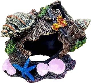 POHOVE Broken Barrel Fish tank Ornaments,Resin Broken Barrel Aquarium Decorations for Fish Tank,Aquarium Ornament Barrel Caves