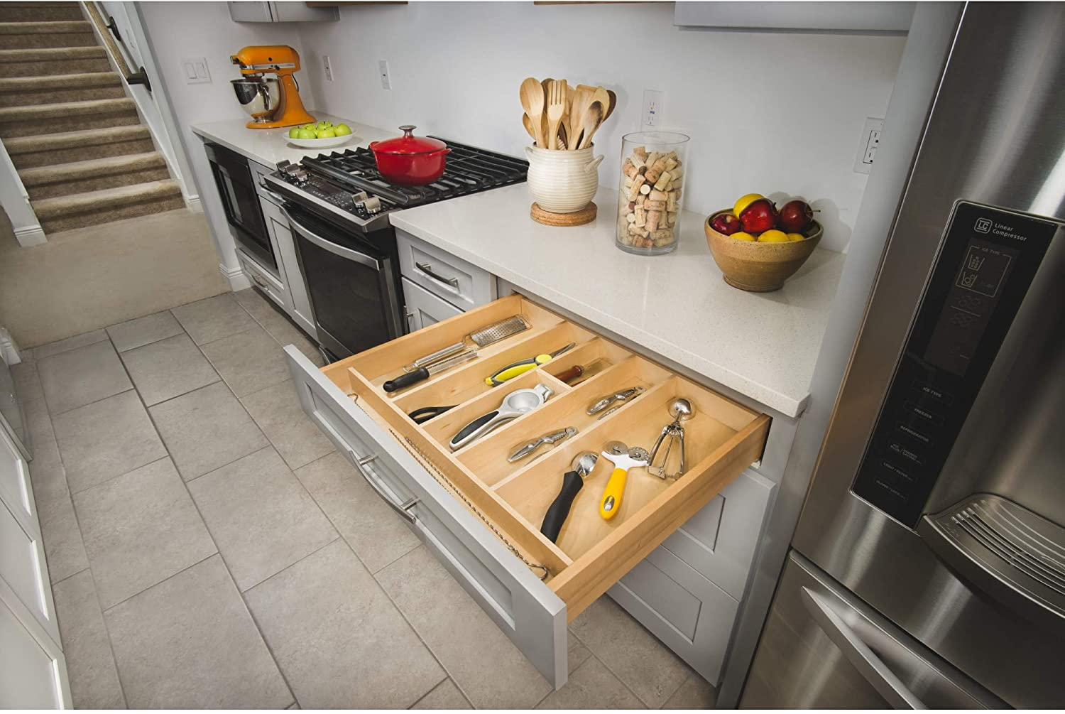Buy Rev A Shelf 4wut 3sh 24 Inch Shallow Trimmable Wooden Kitchen Drawer Divider Utility Holder Cutlery Tray Organizer Insert With 7 Slots Maple Online In Turkey B00h45nd62