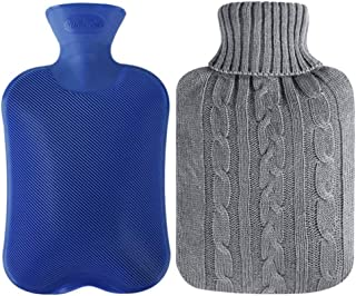 Attmu Classic Rubber Hot Water Bottle 2 Liter with 2 Pack Knit Covers and 1 Bottle Stopper, Blue