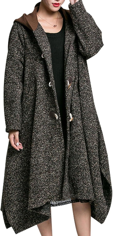 Female Hooded Woolen Coat Jacket Loose Irregular Hem