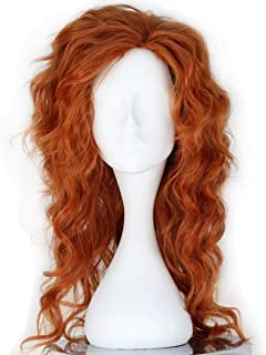 Miss U Hair Girl Long Fluffy Curly Auburn Color Cosplay Costume Wig Halloween