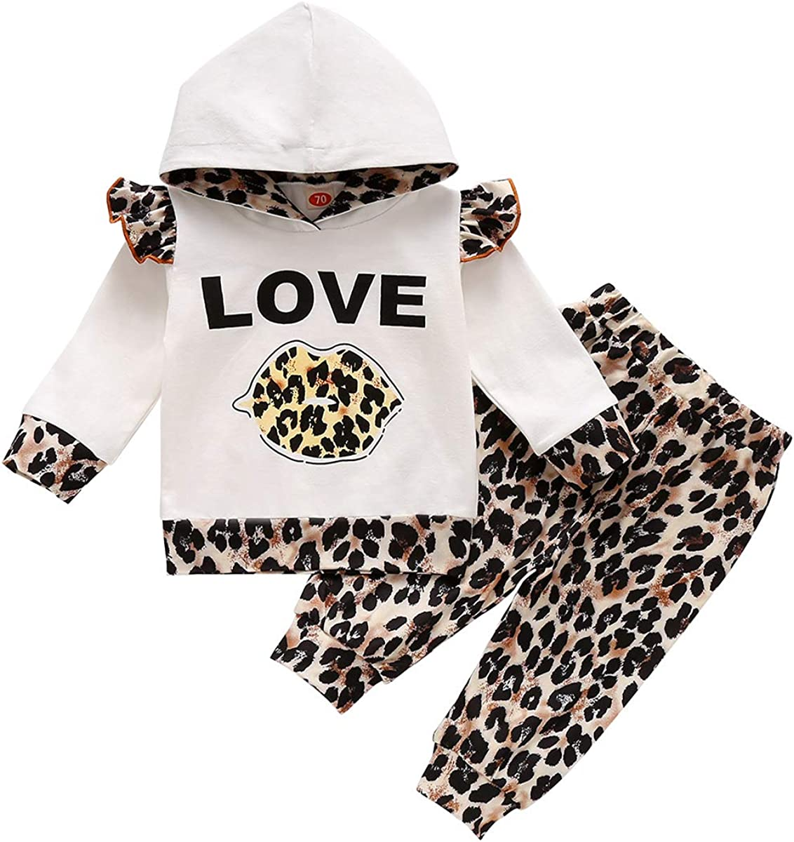 Baby Boys Girls Clothes Long Sleeve Leopard Hoodie Tops Sweatsuit Long Pants Outfit Set
