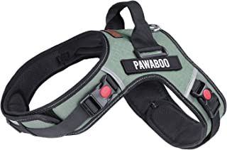 PAWABOO Dog Vest Halter Harness, Adjustable Durable Heavy Duty Soft Padded Reflective Dog Vest Harness with Handle on Top for Pet Dog Training Walking, Hook and Loop Closure