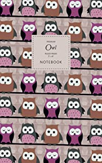 Owl Notebook - Ruled Pages - 5x8 - Premium: (Pink Edition) Bird of Prey Notebook 96 ruled/lined pages (5x8 inches / 12.7x2...