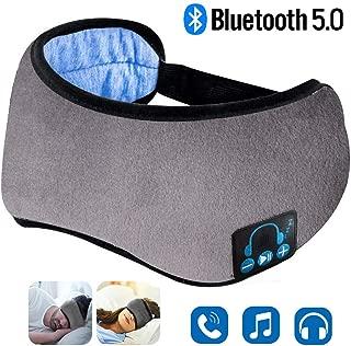 Sleep Headphones, Upgraded Sleep Eye Mask Bluetooth 5.0, Wireless Sleep Headphones, Designed with Ultra Thin Speakers & MIC, Super Soft, Washable, Hands-Free Calling, Travel Helper, Idea