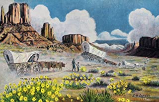 Western Scene - View of Pioneers with Covered Wagons Heading West (12x18 Art Print, Wall Decor Travel Poster)