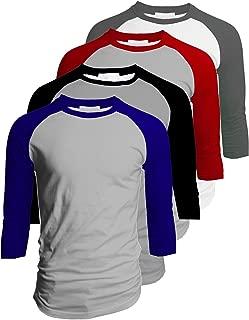 TL Men's 4 Pack 3/4 Sleeve Baseball Cotton Crew Neck Jersey Raglan Tee Shirts S to 5XL