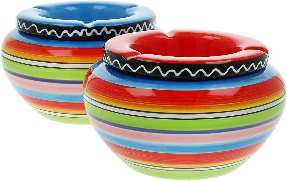 Com-four® , 2 posacenere in ceramica multicolore CF12066