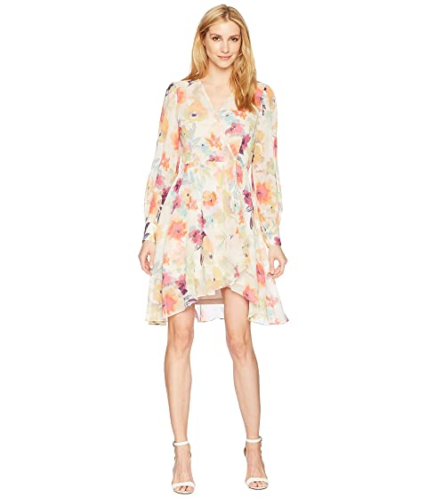 ddcb24e712df5 Calvin Klein Long Sleeve V-Neck Floral Print Chiffon Dress CD8H48KC ...