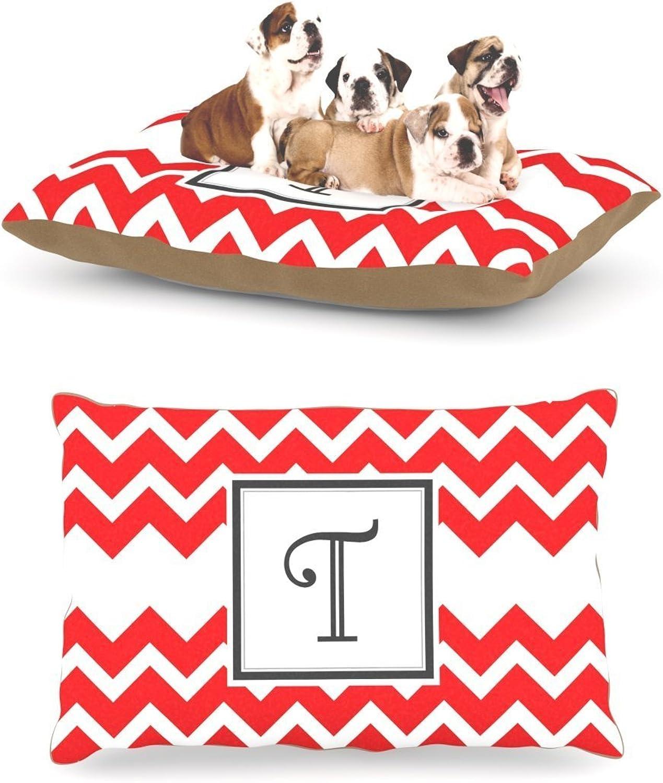 Kess InHouse Chevron Red Fleece Dog Bed, 30 by 40Inch, Monogram LetterT