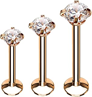 BodyJ4You 3-9PC Labret Stud Tragus Earring Set 16G CZ Crystal Surgical Steel Helix Monroe Jewelry