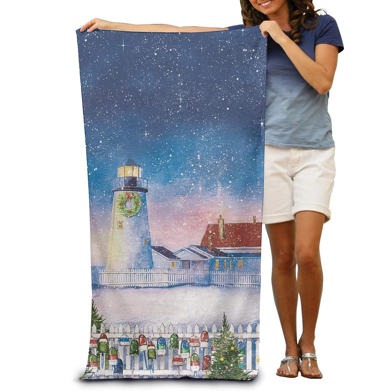 130×80 Cm クリスマス灯台航海休日シーン ホテルスタイル ビーチマット 折りたたみ 吸水性バスビーチタオル ビーチ プール 海水浴 ビキニ 水着