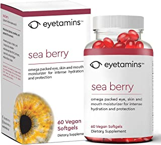 eyetamins™ Dry Eye Supplement - Sea Berry Moisturizes The Eyes and Tears - Hydrates, Nourishes and Protects The Cornea - Reduce Blurry Vision – Prevent Dry Eye, Irritation and Eye Pain - 60 Count