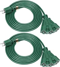 DEWENWILS 10 FT Green Outdoor Tri-Tap Extension Cord Splitter, Weatherproof 16/3 SJTW Power Cable for Holiday Decoration and Landscaping Lights, UL Listed, Pack of 2