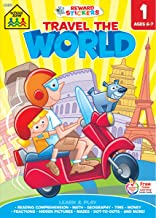 School Zone - Travel the World 1st Grade Learning Workbook - 240 Pages, Ages 6 to 7, Stickers, Beginning and Ending Letter...