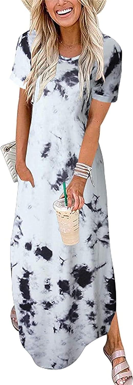 CYCGZJL Women's Summer Casual Dresses Fashion Holiday Beach Party Dress (5) Gray Black