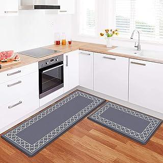 LuxStep Kitchen Mat Set of 2 Anti Fatigue Mat, PVC Non Slip Kitchen Rugs and Mats Waterproof Memory Foam Kitchen Rug, Stan...