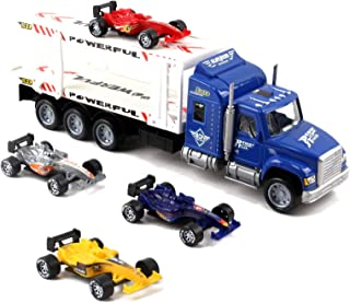 """Vokodo Friction Powered Toy Semi Truck Trailer 14.5"""" With Four Formula 1 Race Cars Kids Push And Go Big Rig Carrier 1:32 Scale Auto Transporter Semi-Truck Play Vehicle Great Gift For Children Boy Girl"""