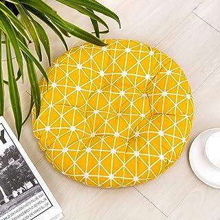 Lesong Cojín redondo para asiento de jardín, suave y duradero, cojín para silla de comedor, cojín de cocina, color amarillo, 45 x 45 x 8 cm
