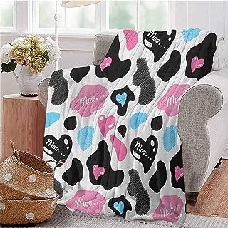 EwaskyOnline Baby Blanket,Cow PrintCow Hide with Hearts Moo Barnyard Love Valentines Abstract Design,Baby Small Fleece Blanket Pale Pink Black White 70