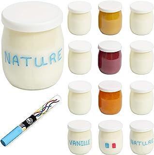 Monboco | lot de 12 Pots de yaourt en verre avec couvercles hermétiques | Fabrication Française | pour yaourtière & robots...