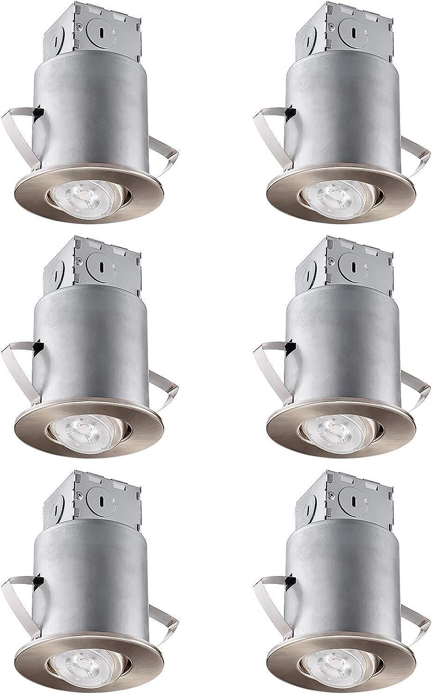 TORCHSTAR Recessed Lighting Kit  3?″ ETL-listed Air Tight IC Housing +Satin Nickel Swivel Trim + LED Dimmable GU10 Bulb Daylight, redatable Spotlight, Retrofit Downlight Kit, Pack of 6