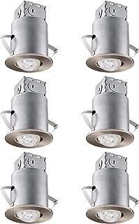 TORCHSTAR Recessed Lighting Kit: 3 Inch ETL-Listed Air Tight IC Housing + Satin Nickel Swivel Trim + LED Dimmable GU10 Bulb Soft White, Rotatable Spotlight, Retrofit Downlight Kit, Pack of 6