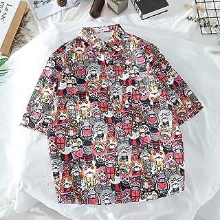 Illustration Print Shirt Street Loose Print Short Sleeve Shirt Hyococ (Color : Photo Color, Size : L)