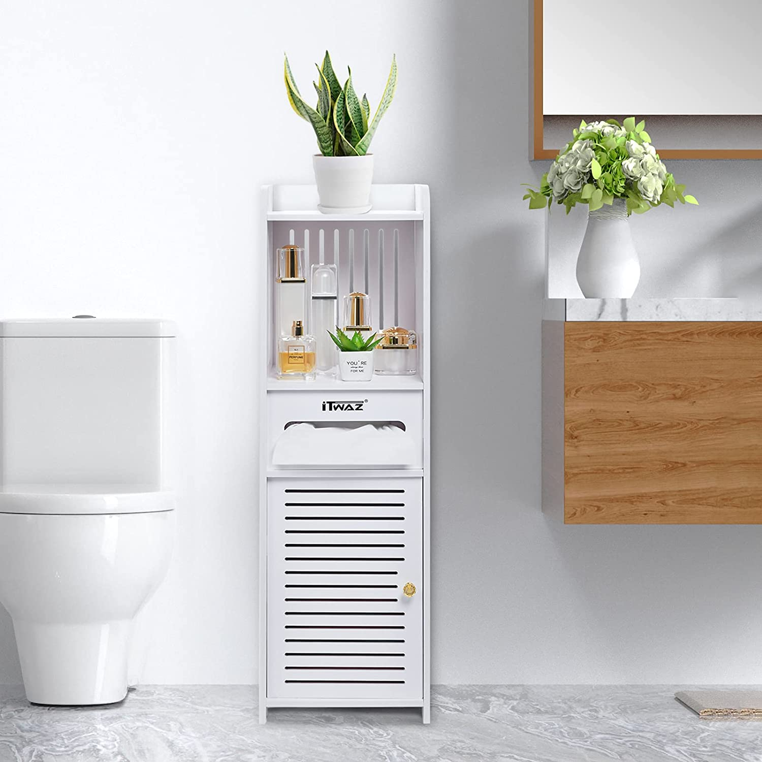 ITWAZ Multipurpose Bathroom Standing Cabinet Single an 2021new shipping free Door with Nippon regular agency
