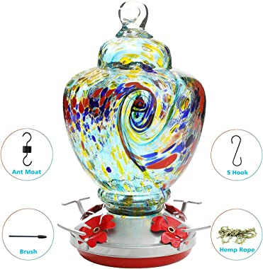 Hummingbird Feeder,Glass Bird Feeder with Color Hand Blown Glass,Leakproof 32 Ounces Nectar Capacity Hummingbird Feeders, Garden Bird Feeders Easy to Clean & Filling,Hanging Hook&Ant Moat