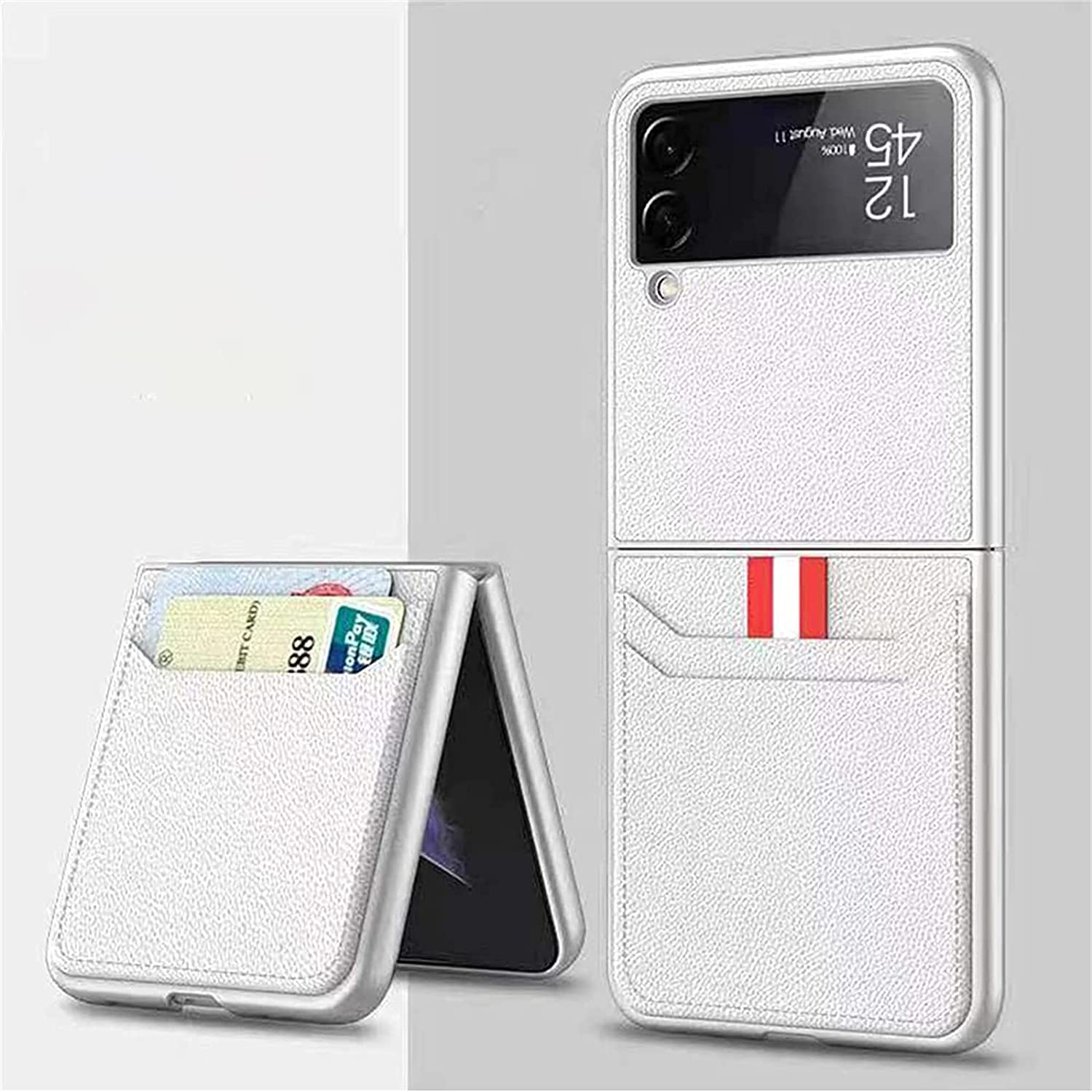 KKJL for Samsung Galaxy Z Flip 3 5G Case, Leather Lightweight Cover Full Protective Cases with Wallet Card (White)